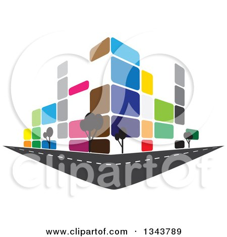Clipart of a Colorful Street Corner City Building with Trees 2 - Royalty Free Vector Illustration by ColorMagic