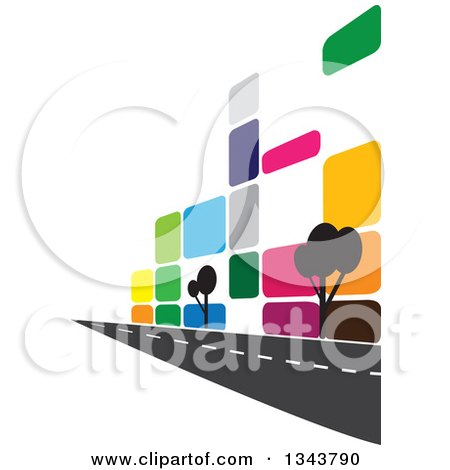 Clipart of a Colorful Street Along a City Building with Trees - Royalty Free Vector Illustration by ColorMagic