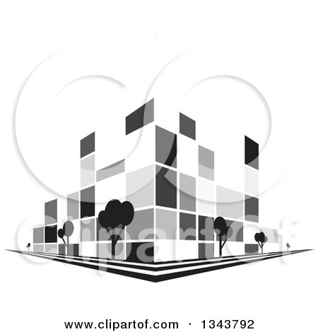 Clipart of a Grayscale City Building on a Corner, with Trees - Royalty Free Vector Illustration by ColorMagic