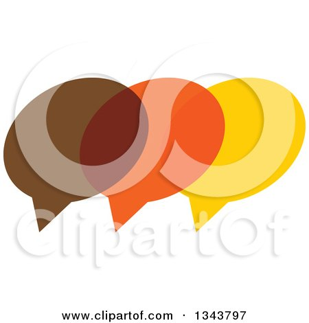 Clipart of a Brown Orange and Yellow Speech Balloon Chat App Icon Design Element 2 - Royalty Free Vector Illustration by ColorMagic