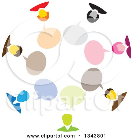 Clipart of a Colorful Group of Business People in a Circle with Speech Balloons - Royalty Free Vector Illustration by ColorMagic
