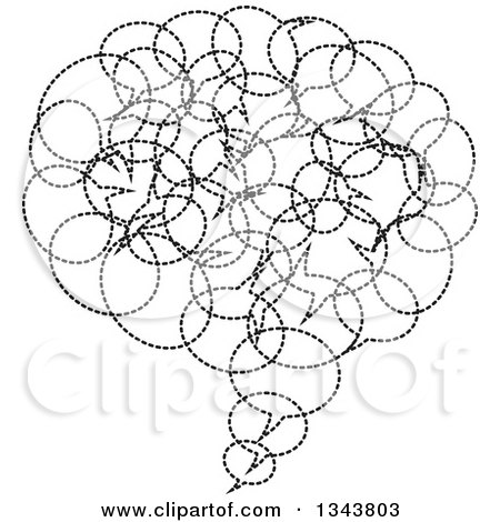 Clipart of a Black and White Speech Balloon Chat App Icon Design Element Made of Dotted Bubbles - Royalty Free Vector Illustration by ColorMagic
