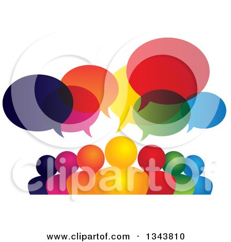 Clipart of a Colorful Group of People with Speech Balloons 10 - Royalty Free Vector Illustration by ColorMagic