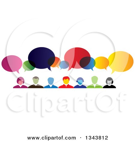 Clipart of a Colorful Group of Business People with Speech Balloons 2 - Royalty Free Vector Illustration by ColorMagic