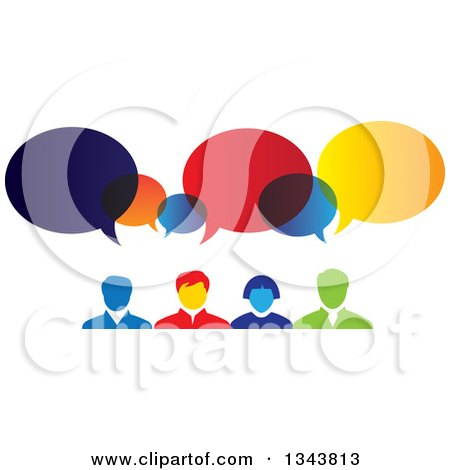 Clipart of a Colorful Group of Business People with Speech Balloons - Royalty Free Vector Illustration by ColorMagic