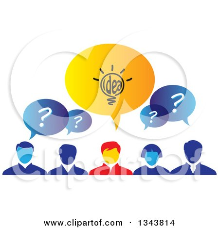 Clipart of a Group of Brainstorming Business People with Speech Balloons - Royalty Free Vector Illustration by ColorMagic