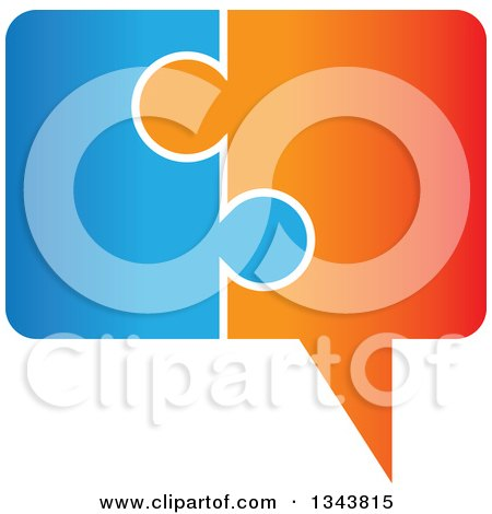 Clipart of a Blue and Orange Jigsaw Puzzle Speech Balloon Chat App Icon Design Element - Royalty Free Vector Illustration by ColorMagic