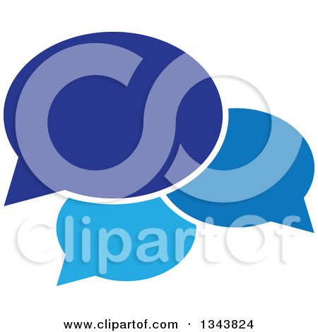 Clipart of a Blue Speech Balloon Chat App Icon Design Element - Royalty Free Vector Illustration by ColorMagic