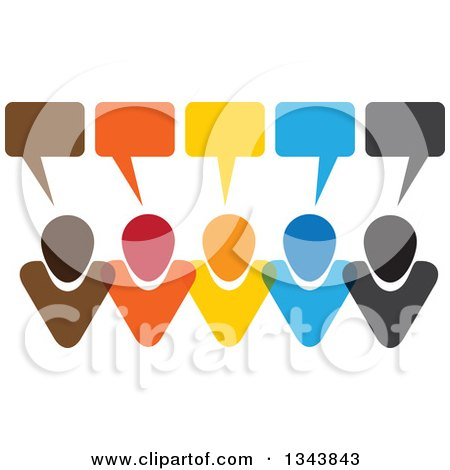 Clipart of a Colorful Group of People with Speech Balloons 9 - Royalty Free Vector Illustration by ColorMagic