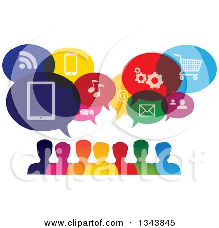 Clipart of a Colorful Group of People with Icon Speech Balloons 2 - Royalty Free Vector Illustration by ColorMagic