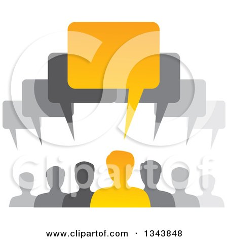 Clipart of a Group of Gray and Orange People with Speech Balloons - Royalty Free Vector Illustration by ColorMagic