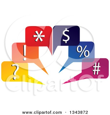 Clipart of Colorful Speech Balloons with Symbols - Royalty Free Vector Illustration by ColorMagic