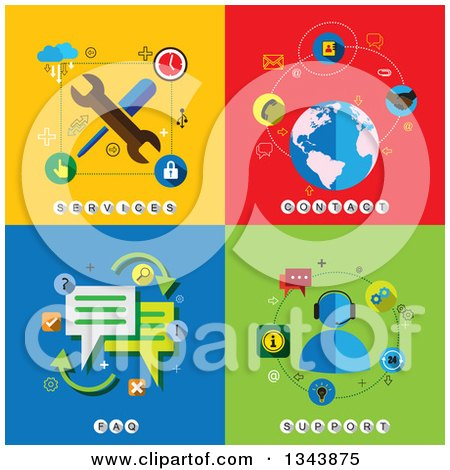 Clipart of Flat Services, Contact, FAQ and Support Designs - Royalty Free Vector Illustration by ColorMagic