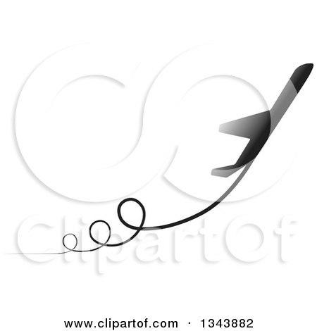 Clipart of a Silhouetted Jet with Curly Trails - Royalty Free Vector Illustration by ColorMagic