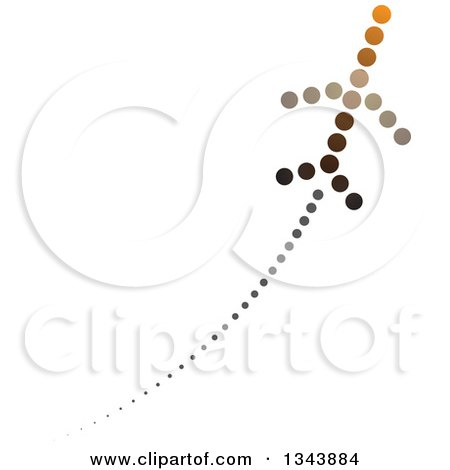 Clipart of a Jet Made of Brown and Black Dots, with a Trail - Royalty Free Vector Illustration by ColorMagic