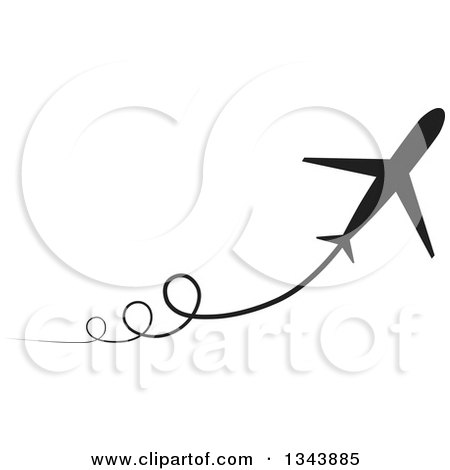 Clipart of a Black Silhouetted Jet with Curly Trails - Royalty Free Vector Illustration by ColorMagic
