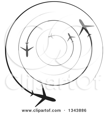 Clipart of Circling Silhouetted Jets with Trails - Royalty Free Vector Illustration by ColorMagic