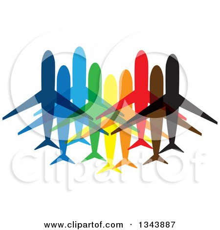 Clipart of Colorful Planes or Jets - Royalty Free Vector Illustration by ColorMagic