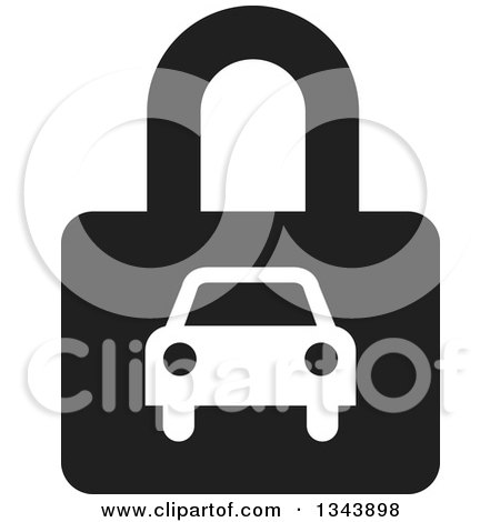 Clipart of a White Car on a Black Padlock - Royalty Free Vector Illustration by ColorMagic