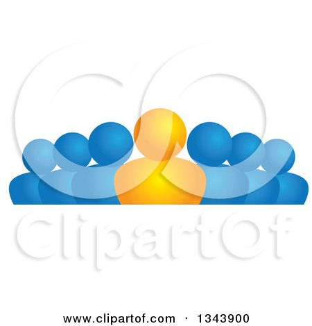 Clipart of an Orange Leader and Blue Followers - Royalty Free Vector Illustration by ColorMagic