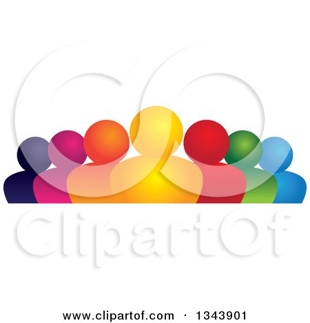 Clipart of a Colorful Group of People - Royalty Free Vector Illustration by ColorMagic