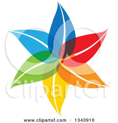 Clipart of a Colorful Flower 7 - Royalty Free Vector Illustration by ColorMagic