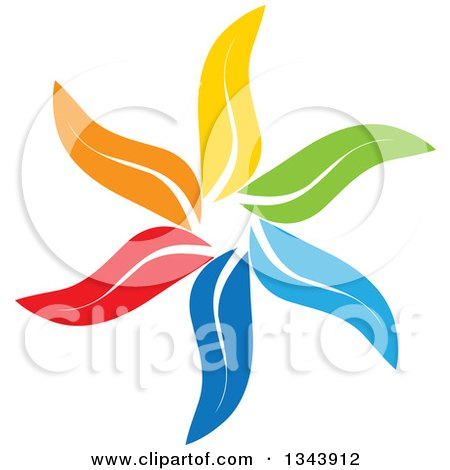 Clipart of a Colorful Flower 6 - Royalty Free Vector Illustration by ColorMagic