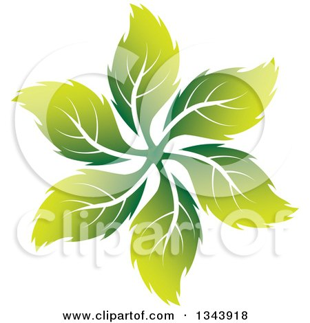 Clipart of a Swirl of Green Leaves - Royalty Free Vector Illustration by ColorMagic