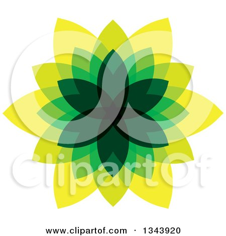 Clipart of a Green and Yellow Leaf Design - Royalty Free Vector Illustration by ColorMagic