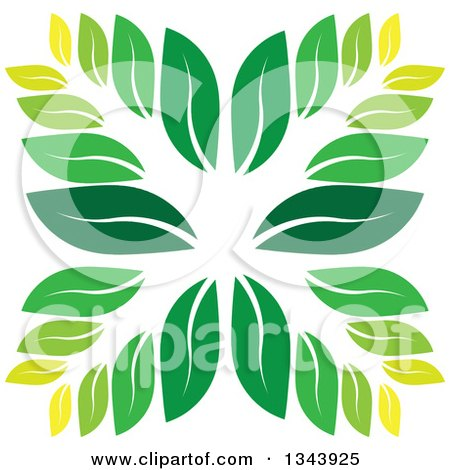 Clipart of a Green Leaf Design 3 - Royalty Free Vector Illustration by ColorMagic