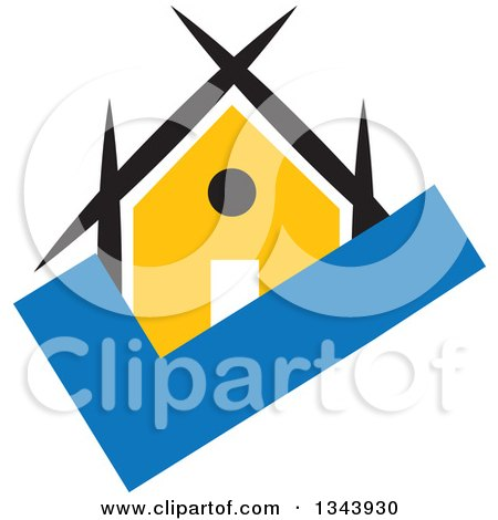 Clipart of a Yellow House on a Blue Check Mark - Royalty Free Vector Illustration by ColorMagic
