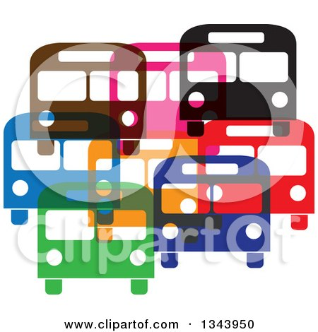 Clipart of Colorful Buses - Royalty Free Vector Illustration by ColorMagic
