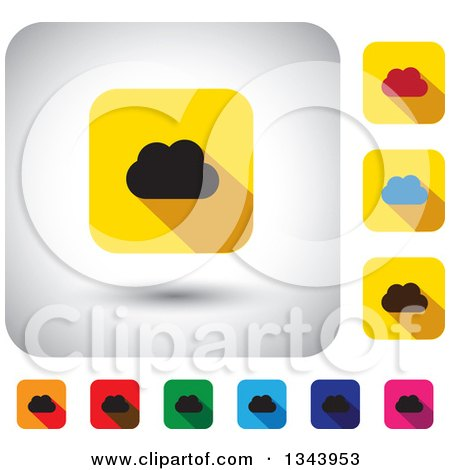 Clipart of Rounded Corner Square Cloud App Icon Design Elements - Royalty Free Vector Illustration by ColorMagic