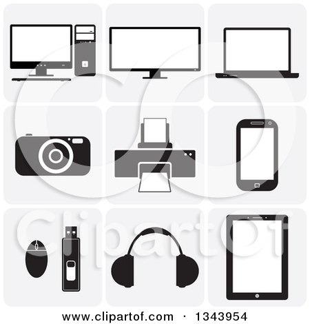 Clipart of Grayscale Rounded Corner Square Computer and Gadget App Icon Design Elements - Royalty Free Vector Illustration by ColorMagic