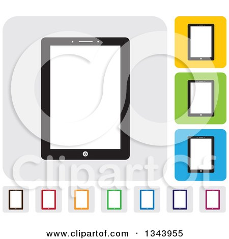 Clipart of Rounded Corner Square Tablet Computer App Icon Design Elements - Royalty Free Vector Illustration by ColorMagic