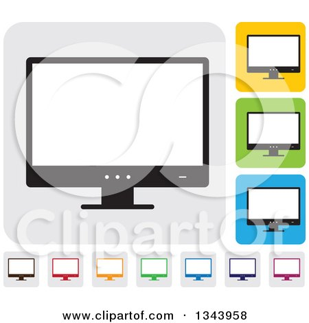 Clipart of Rounded Corner Square Desktop Computer or Tv Screen App Icon Design Elements 2 - Royalty Free Vector Illustration by ColorMagic