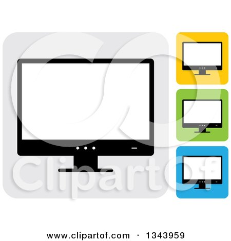 Clipart of Rounded Corner Square Desktop Computer or Tv Screen App Icon Design Elements 3 - Royalty Free Vector Illustration by ColorMagic