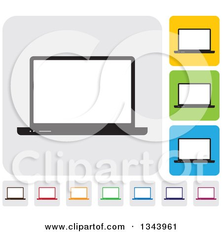 Clipart of Rounded Corner Square Laptop Computer App Icon Design Elements - Royalty Free Vector Illustration by ColorMagic