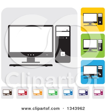 Clipart of Rounded Corner Square Desktop Computer App Icon Design Elements - Royalty Free Vector Illustration by ColorMagic