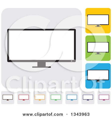 Clipart of Rounded Corner Square Desktop Computer or Tv Screen App Icon Design Elements - Royalty Free Vector Illustration by ColorMagic