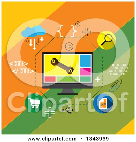 Clipart of a Flat Design of Application Development and Icons - Royalty Free Vector Illustration by ColorMagic
