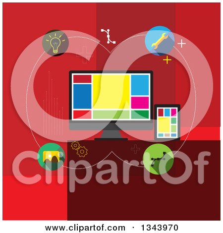 Clipart of a Flat Design of Computer Web Design and Icons on Red - Royalty Free Vector Illustration by ColorMagic
