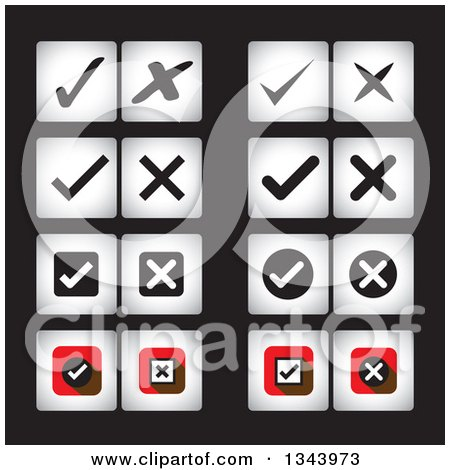 Clipart of Square Check and X Mark App Icon Design Elements on Black - Royalty Free Vector Illustration by ColorMagic