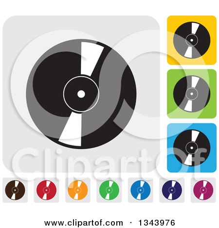 Clipart of Rounded Corner Square Music Vinyl Record App Icon Design Elements - Royalty Free Vector Illustration by ColorMagic