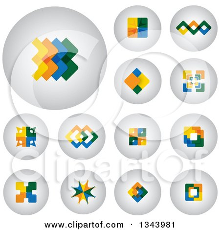 Clipart of Round Shaded App Button Icons with Colorful Designs - Royalty Free Vector Illustration by ColorMagic