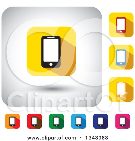 Clipart of Rounded Corner Square Smart Cell Phone App Icon Design Elements - Royalty Free Vector Illustration by ColorMagic