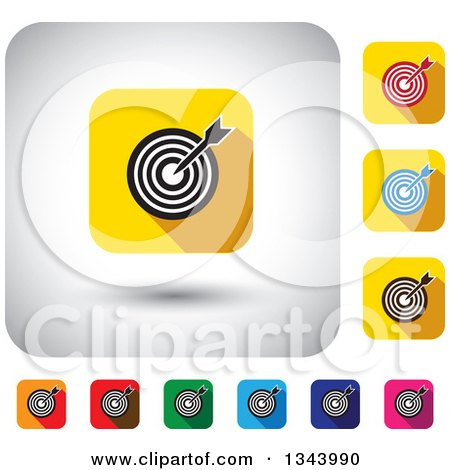 Clipart of Rounded Corner Square Dart and Target App Icon Design Elements - Royalty Free Vector Illustration by ColorMagic