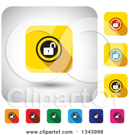 Clipart of Rounded Corner Square Open Padlock App Icon Design Elements - Royalty Free Vector Illustration by ColorMagic