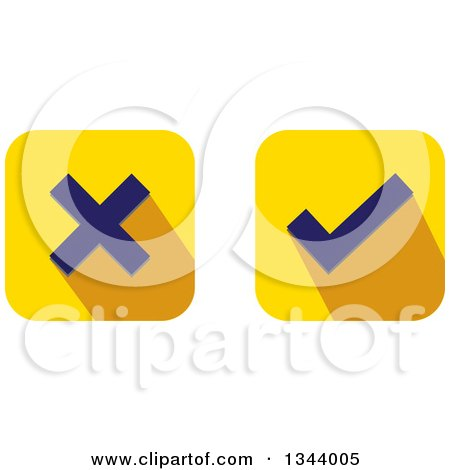 Clipart of Rounded Corner Square X and Check Mark App Icon Design Elements - Royalty Free Vector Illustration by ColorMagic