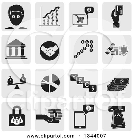 Clipart of Grayscale Rounded Corner Square Finance App Icon Design Elements - Royalty Free Vector Illustration by ColorMagic